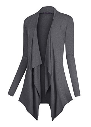 Urban CoCo Women's Vogue Long Sleeve Irregular Hem Open Front Cardigan (2XL, Grey-1)