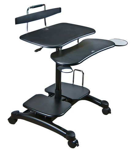 (Aidata PCC004P PopDesk PC Cart Sitting/Standing Mobile Computer Desk (ABS Plastic), Black, Compact Units Store Your Entire Computer in Minimal Space, Easy Height Adjustments for Sitting or Standing)