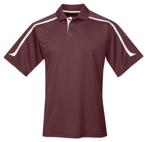 (Tri-mountain Mens 100% Polyester UC Knit Polo Shirt. 174 - DARK MAROON / WHITE_2XLT)