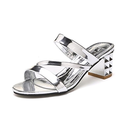 Flip Flop Sandals For Women Summer Casual Sequins Ankle High Heels Slipper For Beach Outdoors Indoors  Silver  40 Us 7