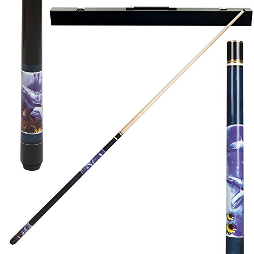 Dolphin Pool Cue - 2 Piece Hardwood Blue Dolphin Design Pool Stick Cue - With Carrying Case!