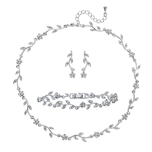 Lux Marquise-Cut and Round Crystal 3-Piece Floral Vine Earrings, Necklace and Bracelet Set in Silvertone
