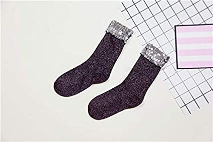 SaveStore Handmade Sequins Glitter Socks for Women Fashion Sexy Short Black Silver Paillette Socks Calcetines Mujer