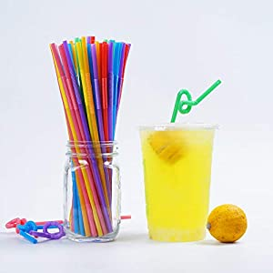 200 Pcs Colorful Plastic Long Flexible Straws.(0.23'' diameter and 10.2 long) (Color: Yellow green pink red blue orange purple random, Tamaño: 0.23'' diameter and 10.2 long)