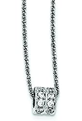 Sterling Silver CZ Barrel Bead 2 Strand Diamond-cut With 2inch Ext Necklace - 16 Inch
