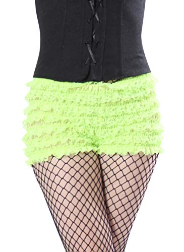 BellaSous Womens Sexy Ruffle Panties Tanga Dance Bloomers Sissy Booty Shorts (Apple Green, Medium)