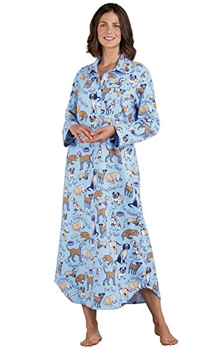 PajamaGram Women's Cotton Flannel Nightgown - Long Nightgown, Blue, M, 8-10 ()