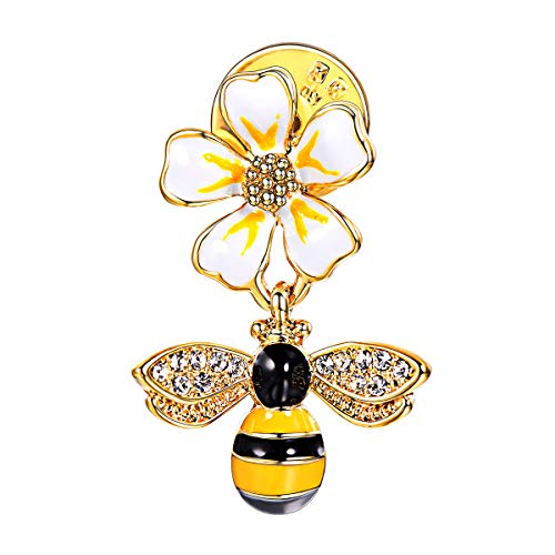 for Women 18k Gold Plated Enamel Flower Insect Crystal Rhinestone Bumble Bee Brooch ()