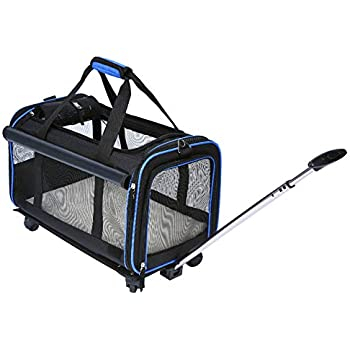 Amazon Com Youthink Pet Wheels Carrier Removable Wheeled Travel Carrier Pets Up To 20 Lbs