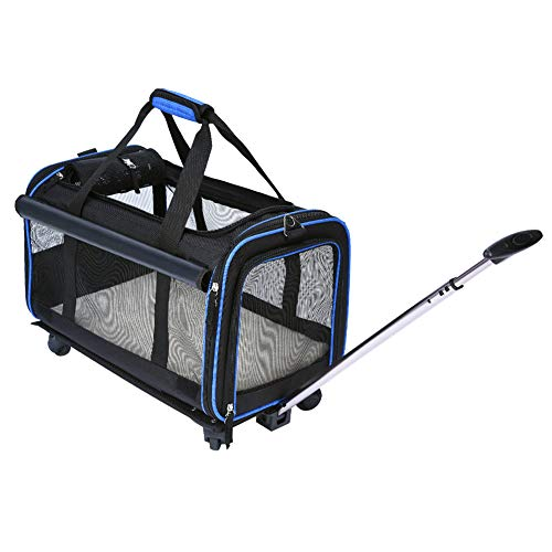 YOUTHINK Pet Wheels Rolling Carrier, Removable Wheeled Travel Carrier for Pets up to 20 lbs, with Extendable Handle & Detachable Fleece Bed, 20