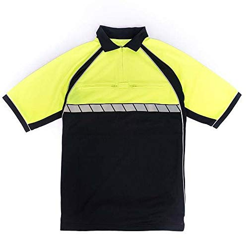(New BLAUER Colorblock Performance XL Short Sleeve Polo Police 8133 D.Navy Hi-Vis)