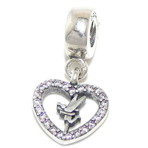 - Pro Jewelry 925 Solid Sterling Silver Tinkerbell Inside Clear Crystal Heart Charm Bead