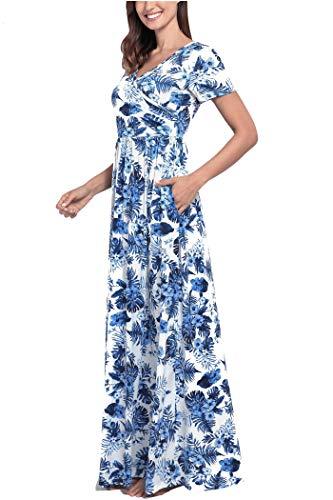Blue Maxi Sleeves V Women's Comila Casual White Floral Summer Pockets Short Neck Dress wPAKBqp4