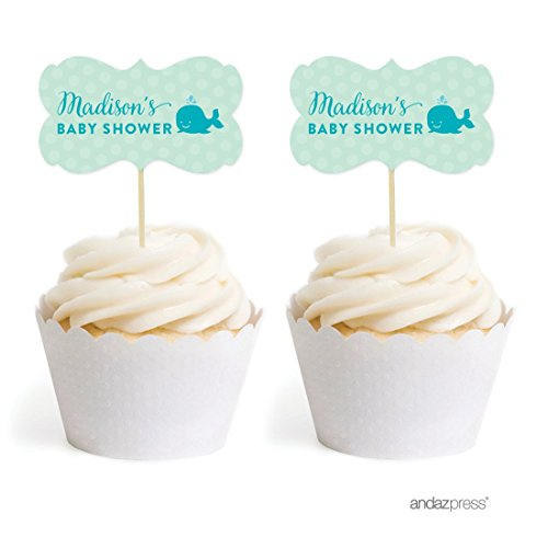 Andaz Press Personalized Birthday and Baby Shower Cupcake Toppers DIY Party Favors Kit, Whale, Double-Sided, 18-Pack, Custom Name