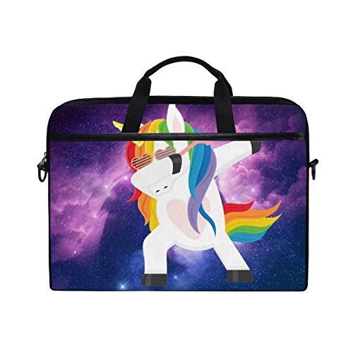 MRMIAN Funny Unicorn Dabbing 15 inch Laptop Case Shoulder Bag Crossbody Briefcase Messenger Sleeve for Women Men Girls Boys with Shoulder Strap Handle, Back to School Gifts for Her Him
