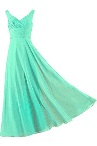 einfach Brautfern Abendkleid Traeger bodenlang zwei Falte Satin aermellos Grün Kleid Schnuerung Partykleid Damen Ivydressing FHwznxq5q