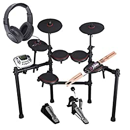 Carlsbro CSD180 8-Piece Enhanced Electronic Drum Kit with Over-Ear Stereo Headphones – Pair of Drumsticks – Top Value…