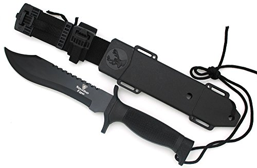 Snake Eye Tactical Black Fixed Blade Survival Bowie Hunting w/Sheath Hunting Camping Fishing Outdoors