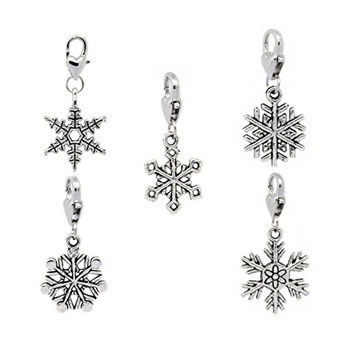 Housweety 30 Christmas Snowflake Clip On Charm Fit Chain Bracelet
