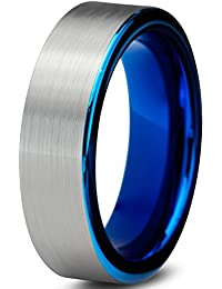 Tungsten Wedding Band Ring 6mm for Men Women Comfort Fit Blue Pipe Cut Brushed Lifetime Guarantee