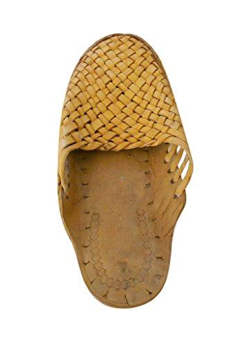 kalra Creations Hombre tradicional indio étnico de piel zapatillas Camel