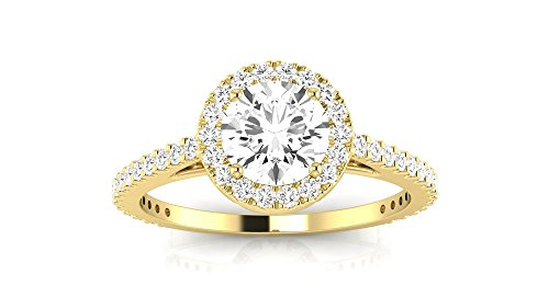 1 Carat t.w. 14K Yellow Gold Round Classic Halo Style Pave Set Round Shape Diamond Engagement Ring H-I I2 Clarity Center Stones. by Houston Diamond District