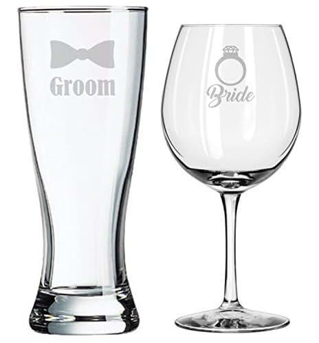 Amazon.com: Bride and Groom Glasses - Wedding Toasting Set