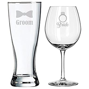 Bride and Groom Glasses - Wedding Toasting Set of 2 - Couples Gifts - Engagement Gift - Diamond Engagement Ring - Original Wedding Gifts - Custom Wedding - Handmade