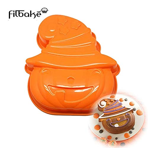 1 piece FILBAKE Halloween Supply DIY Baking Tools Pumpkin Shape Silicone Cake Mold Cake Pan for Tart Bundt Cake Cheesecake and Pudding]()
