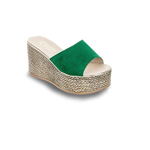 Heel Sandals Green Bottom Waterproof Slide Slip Platform Thick T Sandals No Summer Summer Slippers JULY Women's xZT6PC