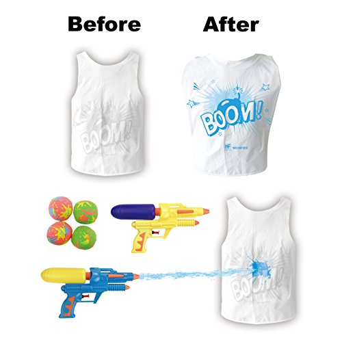 [2-Pack] Water Battle Combat Wars - 2 Person Water Fighting Game with Color Changing Vests, Water Guns and Splash Bombs (Water Tag)