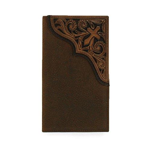 Ariat Men's Cross Corner Inlay Rodeo Western Wallet, Brown,