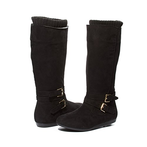 Black Child Boots (Sara Z Kids Girls Microsuede Knee High Cut Boots With Knit Cuffs Black/Gold Size 2)