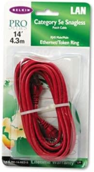 Belkin CAT5e 10//100 Base-T RJ45 Patch Cable Red 14 ft Snagless