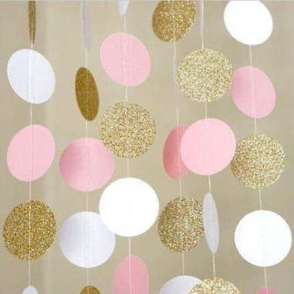 Hangnuo 16.4ft Colorful Dot Paper Garland For Wedding Birthday Anniversary Party Christmas Girls Background Decoration (Large:5cm/1.96inch Dot Diameter, White+Pink+Golden)