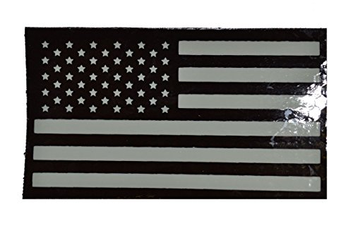Infrared (IR) USA American Flag, Forward Facing 2x3.5 Morale Patch - White Graphic