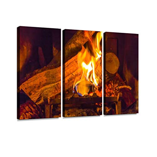 Fireplace in a Log Cabin During Christmas Print On Canvas Wall Artwork Modern Photography Home Decor Unique Pattern Stretched and Framed 3 Piece