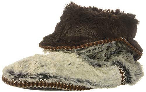 (Dearfoams Women's Faux Fur Foldown Boot Slipper, Brown Frost, M Regular US )