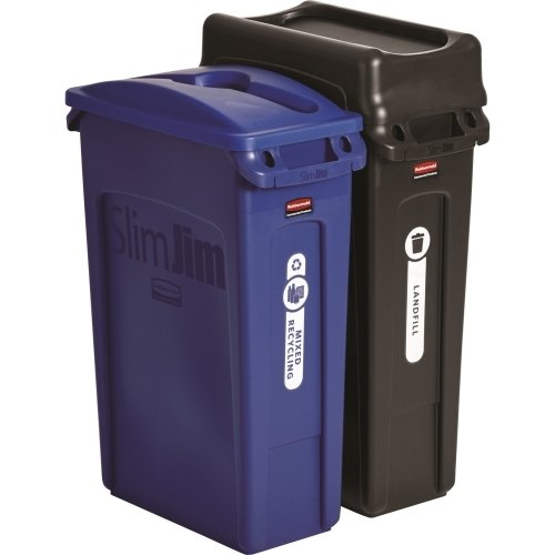 Rubbermaid Commercial Slim Jim Recycling Container, Blue, Black by Rubbermaid Commercial