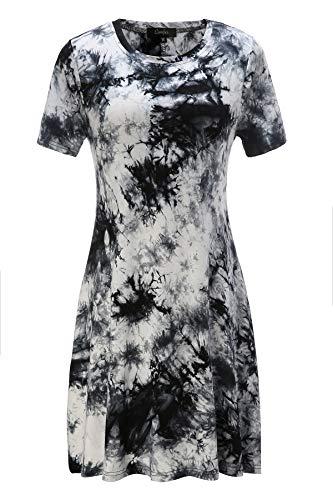 Tie dye Dress Women Short Sleeve Floral Shift A Line T Shirt Dress with Pockets (X-Large, Tie Dye Black ()