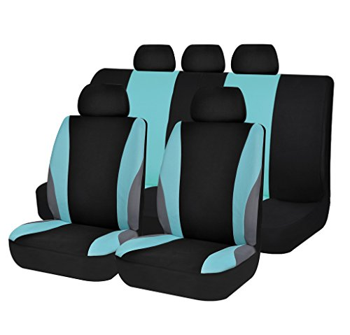Autoanyway Car Seat Covers Set Universal Fit Trucks,Jeep,SUV Soft Cloth New Arrival ACSC1609-11pcs,Mint ACSC Seat Covers