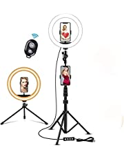 LED Ring Light 10 inch Selfie Ring Light,3 Light Modes, with 2 Tripod Stands & 2 Phone Holders for Makeup/Photography/YouTube Videos/Vlog/TIK Tok/Live,Compatible with iPhone & Android