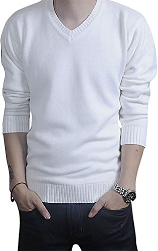 Tophaz Men's Stylish Slim Knitted Basic V Neck Sweater Thin Plain Pullover SW23, White X-Small