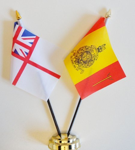 Royal Marines 43 Commando Fleet Protection Group Hmnb Clyde And Royal Navy White Ensign Friendship Table Flag Display 25Cm  10