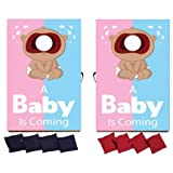 VictoryStore Cornhole Games - Gender Reveal Cornhole Game - A Baby is Coming Pink Blue Design (Dark Skin)