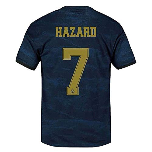 Real Madrid Hazard Jersey # 7 Soccer Jersey 2019-2020 Away Mens Jersey Blue (S)