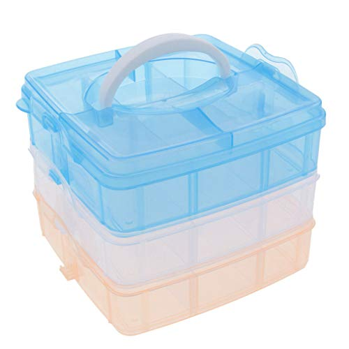 (MOPOLIS Clear 18 Dividers Adjustable Jewelry Storage Box Case Craft Organizer Beads | Color - Multi)