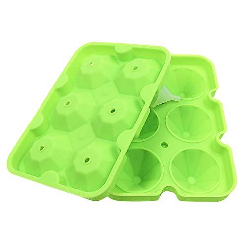 IslandseDiamond Shape Ice Cube Maker 6-Diamond Ice Tray Ice Cube Mold Storage Container (Green)