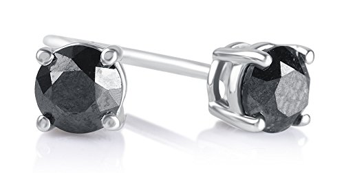 1/4 Cttw Round Black Diamond Stud Earrings in Sterling Silver