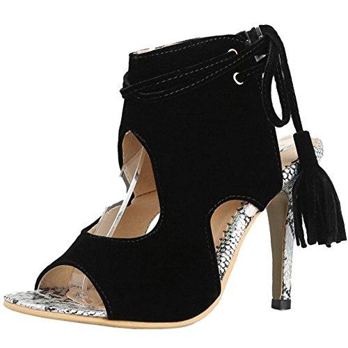 TAOFFEN Mujer Peep Toe Botin Sandalias Tacon De Aguja Tacon Alto Con Cordones Open Back Verano Zapatos Negro